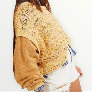 Free People NWT Honeycomb Combo Drop Shoulder Boat Neck Knit Sweater Size Large